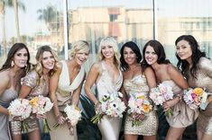 Mismatched Sequined Gold Bridesmaid Dresses / http://www.deerpearlflowers.com/2015-wedding-trends-sequined-metallic-bridesmaid-dresses/2/