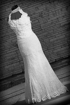 Hand made crochet wedding dress - made custom to order. $700.00, via Etsy.