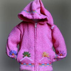 Chain of Flowers Sweater - Adorable sweater, with it's pointed hood and chain of flowers around the front and on the cuffs is something right out of a story book.
