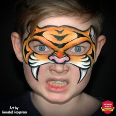 Eye-Friendly Tiger Face Paint Step-By-Step by Annabel Hoogeveen - Tiger Mask Face Paint Tutorial: Step by Step Guide - Simple Tiger Face Paint, Tiger Face Paints, Mask Face Paint, Lion Face Paint, Animal Face Paintings, Animal Faces, Face Painting Tutorials, Face Painting Designs, Face Painting For Boys