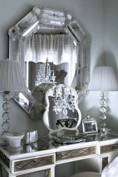 Elegant vanity home decor white elegant silver design interior Style At Home, My New Room, My Room, Mirrored Furniture, Mirrored Vanity, Silver Vanity, Venetian Mirrors, Venetian Glass, Antique Mirrors