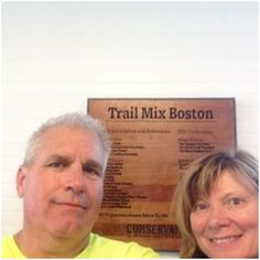 Reading the donor sign at Trail Mix Boston.