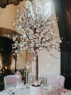 Cherry Blossom and T-light balls....