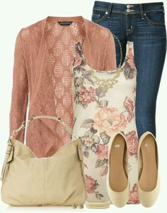 Great color combo. This outfit is perfect for any season, Spring, Summer or even Fall (just switch up flats for boots). The floral tank with a lace knit cardigan sweater is very Spring. Enjoy.  G;)