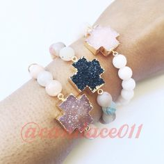 "Druzy Cross Bracelet (Mauve) ✳️Bundle to save 15%!✳️  Druzy encrusted cross. Measures 1"" Beads are off white, with two gold accent beads Stretchy bracelet, comfy to wear. Gold color hardware Check out the matching earrings and necklace.  CC Boutique  Jewelry Bracelets"