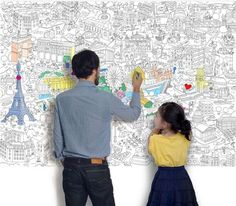 Giant coloring maps of Paris, London, Barcelona and New York - a fun and educational activity for kids that will help them get familiar with important monuments of the world.