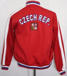Embroidered CZECH REPUBLIC Soccer Futbol Full Zip Jacket Red Small SEE PHOTOS! #RedJacket #SoccerJacket