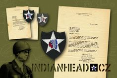 INDIANHEAD.CZ IM70001 WWII US ARMY 2ID WOOL FELT PATCH AND LETTER SIGNED BY MG WALTER M. ROBERTSON