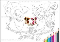 So In Love Hooties  Owl Art  Bird Art  Fantasy by concettasdesigns, $3.00