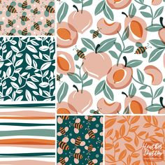 Just Peachy - 37 designs by heatherdutton Textile Pattern Design, Surface Pattern Design, Textile Patterns, Pattern Art, Abstract Pattern, Print Patterns, Loom Patterns, Planner Bullet Journal, Pattern Illustration