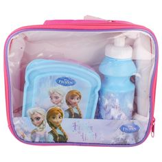 GIRLS DISNEY FROZEN  LUNCH BAG WITH LUNCH BOX AND DRINK BOTTLE  STYLE  - 6409105