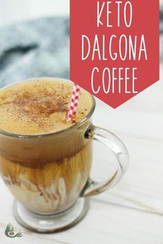 Keto Whipped Coffee, also known as Dalgona Coffee, is a delicious iced coffee with only one net carb! Perfect for all coffee lovers. Iced Coffee, Coffee Drinks, Awesome Food, Good Food, Bulletproof Coffee, Unsweetened Almond Milk, Coffee Lovers, Coffee Recipes, Serving Size