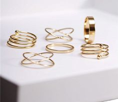 A set of gold stacking rings that are six kinds of fabulous. | 30 Dainty Pieces Of Jewelry To Buy Yourself For Valentine's Day