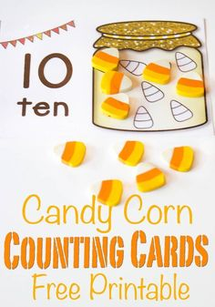 These free printable candy corn counting cards are a great hands-on way to introduce counting to your preschooler! Fill up the candy jar with real candy corn or mini erasers to show numbers and have some math fun this fall! Halloween Activities For Kids, Kindergarten Math Activities, Counting Activities, Preschool Printables, Preschool Learning, Free Printables, Preschool Ideas, Teaching Ideas, Monster Activities