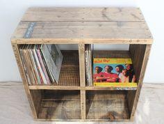 Reclaimed Wood Record Player / Vinyl Storage  by OldManAndMagpie