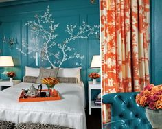 Design Basics: Color Schemes via Color Wheel Design Basics: Color Schemes via Color Wheel – TileTram Neutral Bedrooms With Pop Of Color, Royal Blue Bedrooms, Color Wheel Design, Turquoise Furniture, Bedroom Orange, Color Turquesa, Design Basics, Room Paint Colors, Awesome Bedrooms