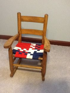 Childs rocker: refinished wood and new seat woven from strips of ...