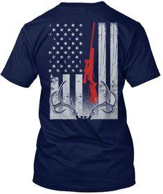 2b42b003b48 Deer Hunting American Flag Navy T-Shirt Back Hunting Shirts