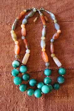 Green brown necklace agate stones fall by StarsonMarsJewelryCo