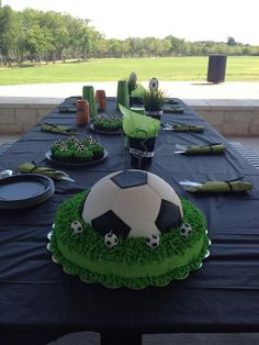 Soccer cake The football party can really get off the ground with this great I … Soccer Birthday Parties, Soccer Party, Sports Party, Football Soccer, Bolo Sporting, Soccer Ball Cake, Soccer Cakes, Football Birthday Cake, Sport Cakes