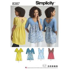 Misses' top pattern with V-shape front and back sized XXS to XXL allows you to create your own unique look mixing knit and woven fabrics. Find it at Simplicity.com.