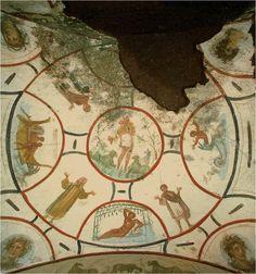 Jonah, Catacomb Ss. Pietro e Marcellino, Roma, Italia. 4° secolo. Paleocristiana. Giona salvato dal ventre della balena, dove il profeta era rimasto per tre giorni, con questo rievocando la resurrezione del Cristo