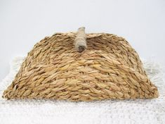 Woven Grass Reed Natural Folded Basket Wooden Vintage Redesign