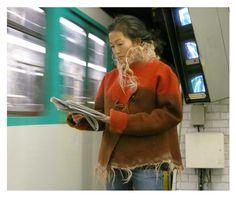 Felted Jacket worn by Yen- Elisabeth Berthon www.lolabastille.com Red Leather, Leather Jacket, Bastille, Felt, Paris, Jackets, Fashion, Studded Leather Jacket, Down Jackets