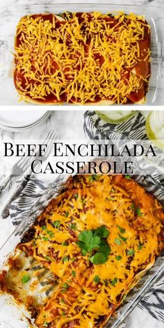 Beef Enchilada Casserole is layers of seasoned ground beef, corn tortillas, enchilada sauce, and cheese. It makes a great family friendly Mexican dinner. It is like having authentic beef enchiladas without all the work! Mexican Beef Casserole, Enchilada Lasagne, Easy Enchilada Casserole, Easy Enchilada Recipe, Easy Beef Enchiladas, Ground Beef Enchiladas, Beef Casserole Recipes, Enchilada Sauce, Cheese Enchilada Casserole