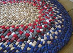 Handmade Vintage Wool Braided Rug In Royal Blue And Shades Of Red From Upcycled