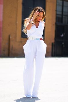 "White HAUTE & REBELLIOUS Jumpers, Gold All Gold HAUTE & REBELLIOUS Accessories | ""WHITE JUMPSUIT 
