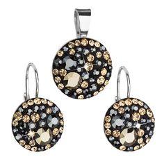 Sada šperků s krystaly Swarovski náušnice a přívěsek mix barev černá hnědá zlatá kulaté 39084.4