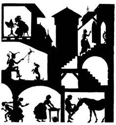 Sleeping Beauty silhouette by Arthur Rackham, from The Sleeping Beauty in the Wood by E. Nesbit.