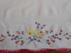Daffodil Pillowcase Vintage White Single Hand Embroidered Flowers  Yellow Purple Pink Green, Pink Crochet Edging, Spring Bed Linens by VintageBabyByKay on Etsy