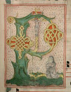 """Lettrine """"P"""" à entrelacs avec sainte Claire en prière (vêpres de sa fête)  DATE :1500-1600 Détail extrait d'un manuscrit (Antiphonaire, BmN, Ms 437)"""