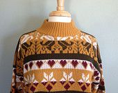 VTG Mustard Cropped Aztec Sweater // Hearts // Marigold Burgundy Olive // Outerwear // Bill Cosby Sweater