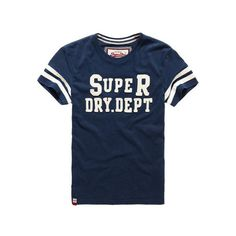 Superdry Core Applique T-shirt ($40) ❤ liked on Polyvore featuring men's fashion, men's clothing, men's shirts, men's t-shirts and blue