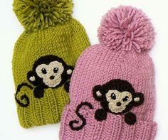 Knitting Patterns Kids Winter Hat Monkey Hat Pom Pom Hat Knit Hat Knitted by Kids Winter Hats, Warm Winter Hats, Kids Hats, Funny Hats, Cute Hats, Crochet Monkey, Crochet Baby, Hat Crochet, Yellow Beanie