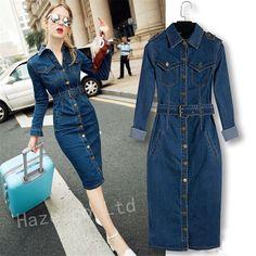 Retro Womens Lapel Midi Dress Long Sleeve Denim Jeans Slim Split Casual Dress