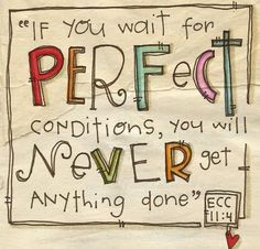 If you wait for perfect conditions, you will never get anything done.  ~Ecclesiastes 11:4