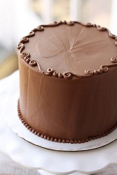 Chocolate Cake with Chocolate Buttercream Frosting - icing idea is striking and do-able