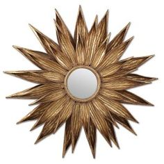 "Decorative Wall Mirror by Paragon:""Golden Flower Petals"" Designer: Malanta Knowles Title: Golden Flower Petals Overall Size: 48 H x 48 W x 03 D Product Type / Feature: Mirrors - Decorative . Layers of golden petals ."
