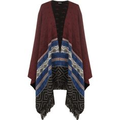 Yara Aztec Tassel Poncho (532.060 IDR) ❤ liked on Polyvore featuring outerwear, cardigans, poncho, black, poncho shawl, aztec poncho and shawl poncho