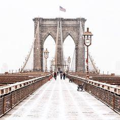 Snowfall on the Brooklyn Bridge. Photo courtesy of gmp3 on Instagram.