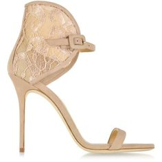 Giuseppe Zanotti Shoes Powder Suede and Lace Sandal ($685) ❤ liked on Polyvore featuring shoes, sandals, lace sandals, giuseppe zanotti, suede leather shoes, giuseppe zanotti shoes and lacy shoes