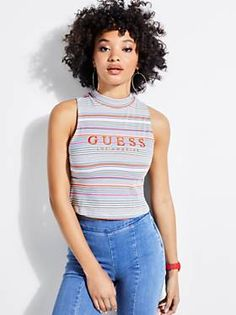 Buy this GUESS Guess Originals Striped Tank online or in store. Fashion Over 50, Womens Fashion For Work, Striped Tank, Guess Jeans, Urban Fashion, Autumn Fashion, Fashion Outfits, Casual, Clothes