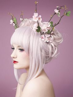 Trendy nails pastel goth flower crowns The Effective Pictures We Offer You About nail tre Pink Hair Spray, Purple Hair, Style Board, Foto Fantasy, Hair Reference, White Hair, Her Hair, Hair Inspiration, Cool Hairstyles