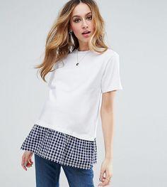 ASOS Maternity T-Shirt with Woven Gingham Frill Hem - White