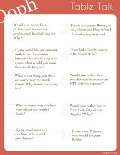 Best Table Talk Questions Images On Pinterest This Or That - Table talk menu