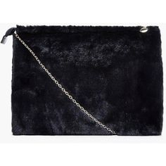 Boohoo Poppy Zip Top Faux Fur Clutch Bag   Boohoo ($24) ❤ liked on Polyvore featuring bags, handbags, clutches, blue clutches, faux fur purse, zip top purse, poppy purse and blue purse